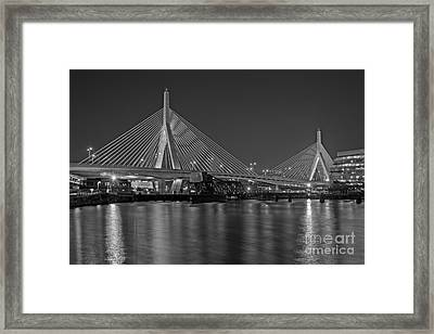 The Zakim Bridge Bw Framed Print