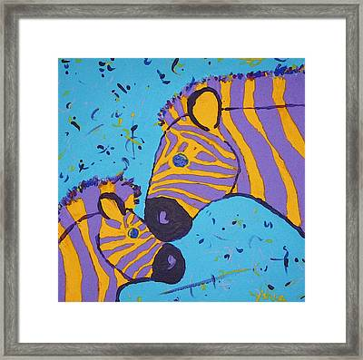 The Zebra Nuzzle Framed Print by Yshua The Painter