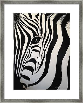 Framed Print featuring the painting The Zebra With One Eye by Alan Lakin