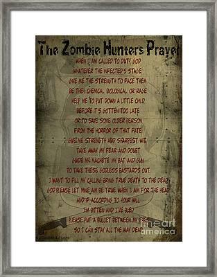 The Zombie Hunter's Prayer Framed Print by Cinema Photography