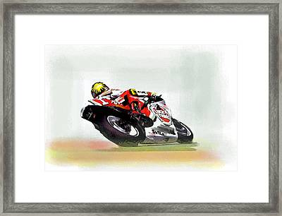 The Zone Kevin Schwantz Framed Print by Iconic Images Art Gallery David Pucciarelli