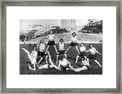 Theater Girls Doing Exercises Framed Print by Underwood Archives