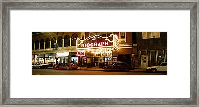 Theater Lit Up At Night, Biograph Framed Print by Panoramic Images