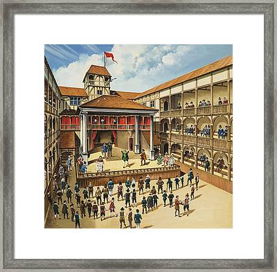 Theatre With Performance Of Hamlet Gouache On Paper Framed Print by English School