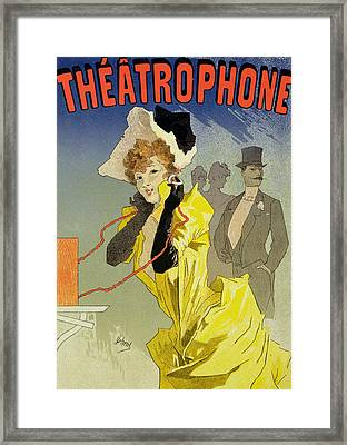 Theatrophone Poster Framed Print by Jules Cheret