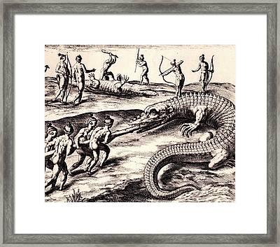 Their Manner Of Killynge Crocodrilles Framed Print by Peter Gumaer Ogden