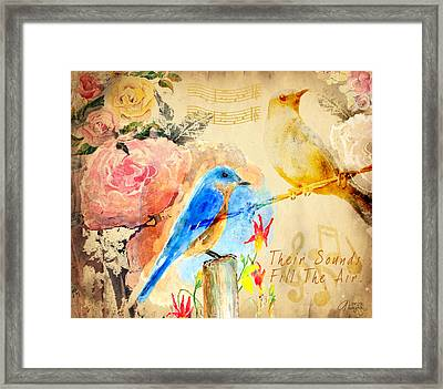 Framed Print featuring the mixed media Their Sounds Fill The Air by Arline Wagner