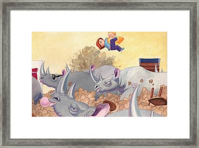 Then Came The Rhinos Framed Print