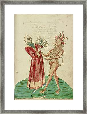 Theodas With The Book Of Magic And The Devil Follower Framed Print by Litz Collection