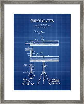 Theodolite Patent From 1895 - Blueprint Framed Print by Aged Pixel