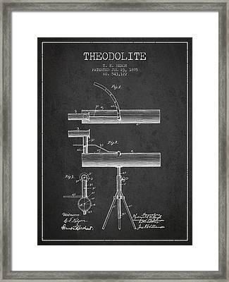 Theodolite Patent From 1895 - Charcoal Framed Print by Aged Pixel