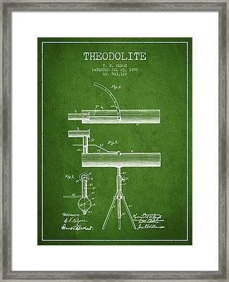 Theodolite Patent From 1895 - Green Framed Print by Aged Pixel