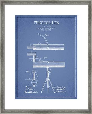 Theodolite Patent From 1895 - Light Blue Framed Print by Aged Pixel