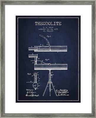 Theodolite Patent From 1895 - Navy Blue Framed Print by Aged Pixel