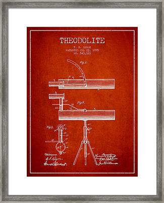 Theodolite Patent From 1895 - Red Framed Print