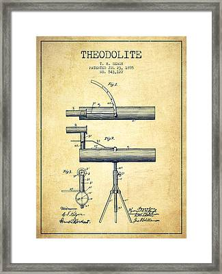 Theodolite Patent From 1895 - Vintage Framed Print by Aged Pixel