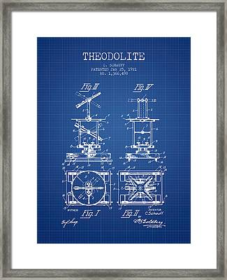 Theodolite Patent From 1921- Blueprint Framed Print by Aged Pixel