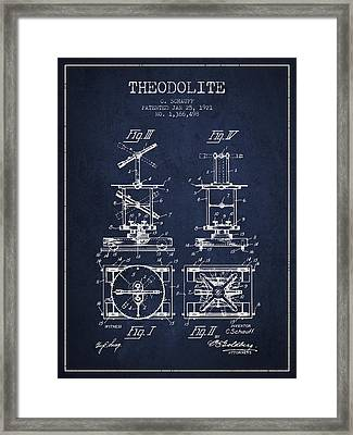 Theodolite Patent From 1921- Navy Blue Framed Print by Aged Pixel