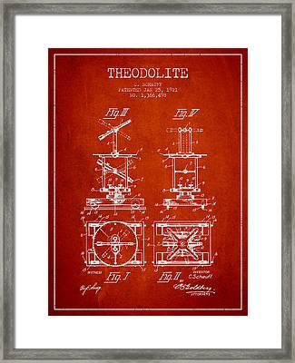 Theodolite Patent From 1921- Red Framed Print