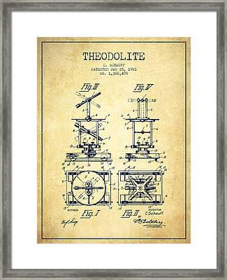 Theodolite Patent From 1921- Vintage Framed Print by Aged Pixel