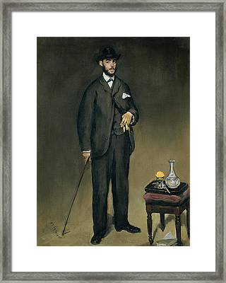 Theodore Duret 1838-1927 Oil On Canvas Framed Print by Edouard Manet