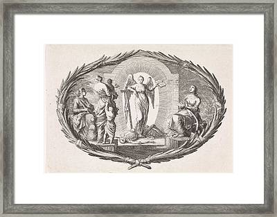 Theological Virtues And An Angel, Jan Luyken Framed Print