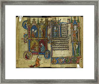 Theophilus Making A Pact With The Devil Framed Print
