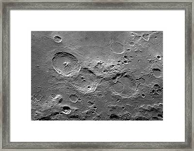Theophilus Trio Of Lunar Craters Framed Print by Damian Peach