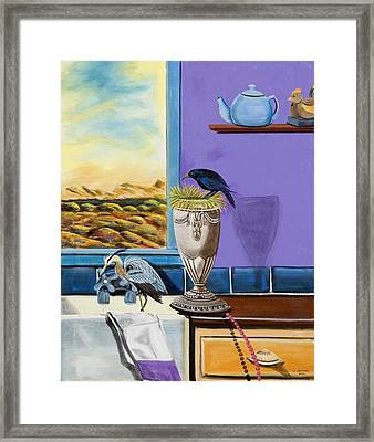Framed Print featuring the painting There Are Birds In The Kitchen Sink by Susan Culver
