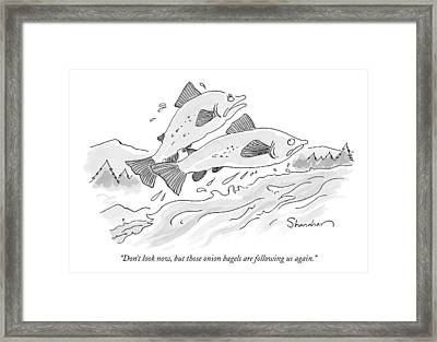 There Are Two Fish Jumping Out Of Water Framed Print