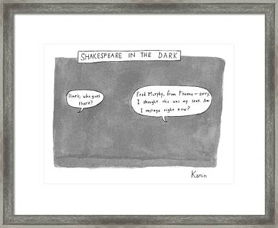 There Is A Dark Scene With Two Word Bubbles Framed Print