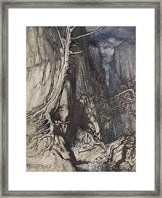 There Is A Dread Dragon He Sojourns Framed Print by Arthur Rackham