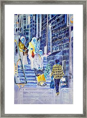 There Is A Ladder Set Up On The Earth Framed Print by Nekoda  Singer