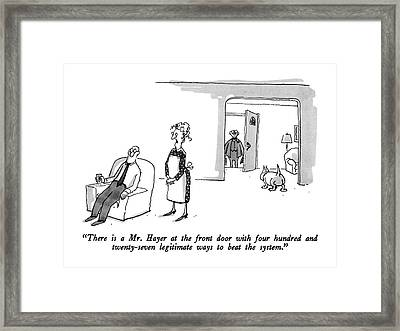 There Is A Mr. Hayer At The Front Door With Four Framed Print by George Booth