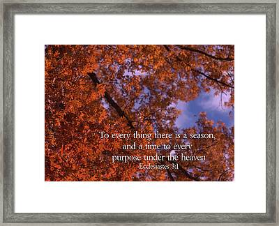 There Is A Season Ecclesiastes Framed Print