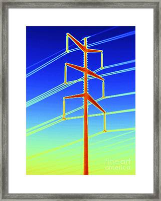 Thermogram Of A Transmission Tower Framed Print