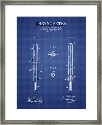 Thermometer Patent From 1898 - Blueprint Framed Print by Aged Pixel
