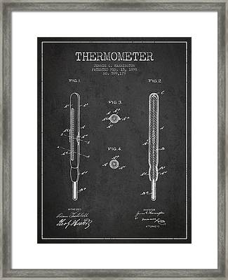 Thermometer Patent From 1898 - Dark Framed Print by Aged Pixel