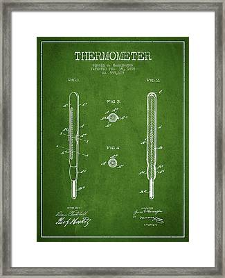 Thermometer Patent From 1898 - Green Framed Print by Aged Pixel