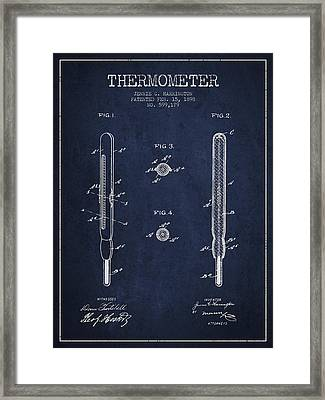 Thermometer Patent From 1898 - Navy Blue Framed Print by Aged Pixel