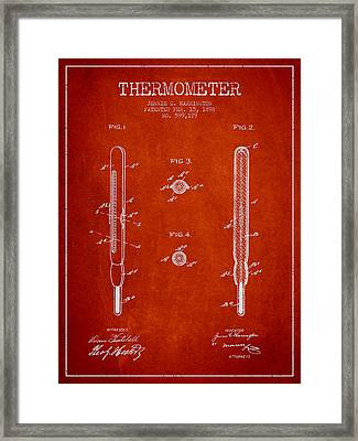 Thermometer Patent From 1898 - Red Framed Print by Aged Pixel