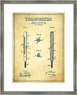Thermometer Patent From 1898 - Vintage Framed Print by Aged Pixel