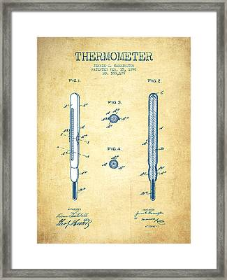 Thermometer Patent From 1898 - Vintage Paper Framed Print by Aged Pixel