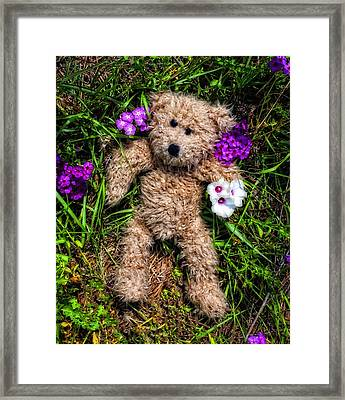 These Are For You - Cute Teddy Bear Art By William Patrick And Sharon Cummings Framed Print by Sharon Cummings