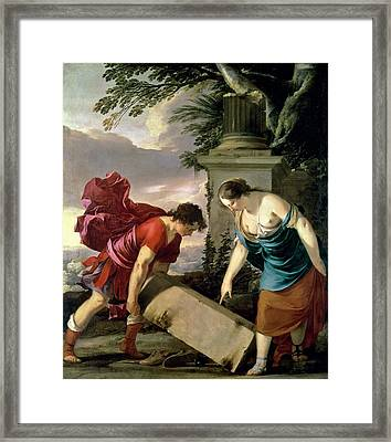 Theseus And His Mother Aethra, C.1635-36 Oil On Canvas Framed Print by Laurent de La Hire or La Hyre
