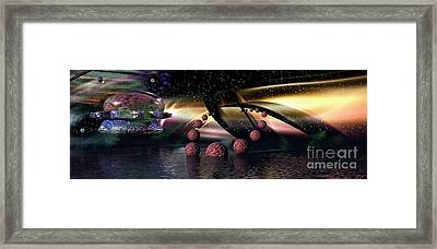 Framed Print featuring the digital art They Came From Outer Space by Jacqueline Lloyd