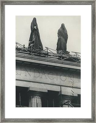 They Don't Like Them Any More; Peron Statues - Covered In Framed Print by Retro Images Archive