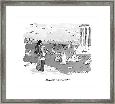 They, Like, Invented Retro Framed Print by Danny Shanahan