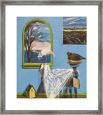 Framed Print featuring the painting They Say I See Flamingos by Susan Culver