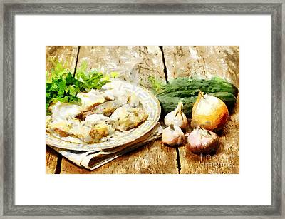 Thick Noodles And Fresh Vegetables Painting Framed Print